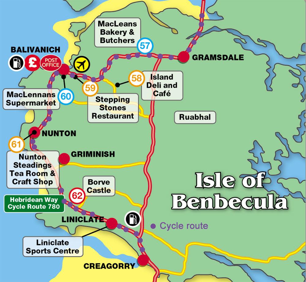 Hebridean Cycle Way Map Benbecula